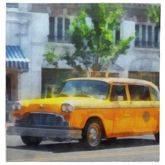 Taxi a cuadros del vintage servilletas imprimidas