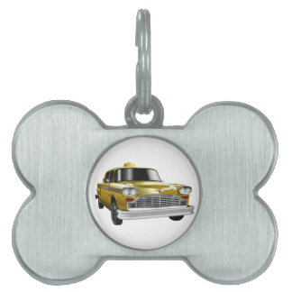 Taxi amarillo del vintage de New York City Placa De Mascota