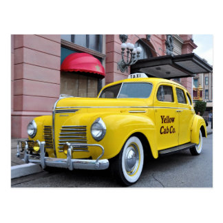 Taxi amarillo del vintage de New York City Tarjeta Postal