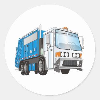 taxi azul y blanco del camión de basura 3d pegatina redonda