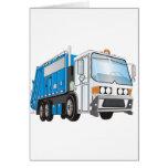 taxi azul y blanco del camión de basura 3d felicitaciones