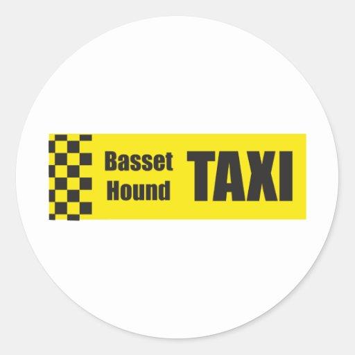 Taxi Basset Hound Round Stickers