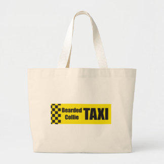 Taxi Bearded Collie Tote Bags