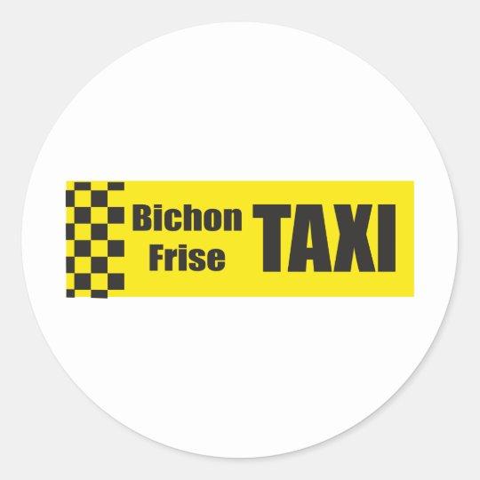 Taxi Bichon Frise Classic Round Sticker