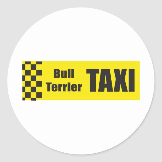 Taxi Bull Terrier Classic Round Sticker