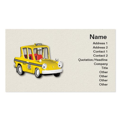 Taxi Double-Sided Standard Business Cards (Pack Of 100)