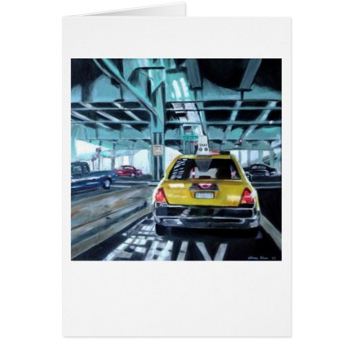 """Taxi"" by Trina Chow Greeting Cards"