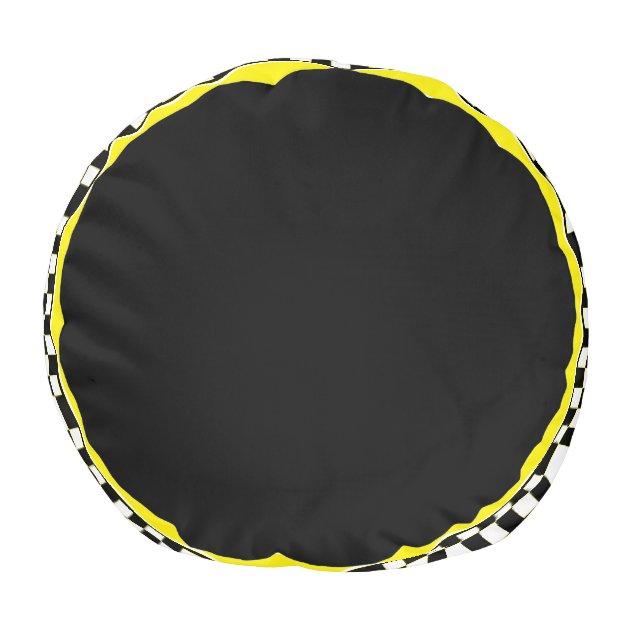 Taxi Cab Black White Yellow Stripe Pouf Zazzle