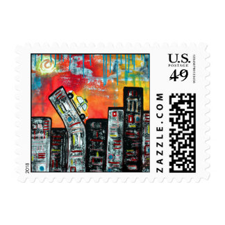 Taxi Cab City Art Stamps