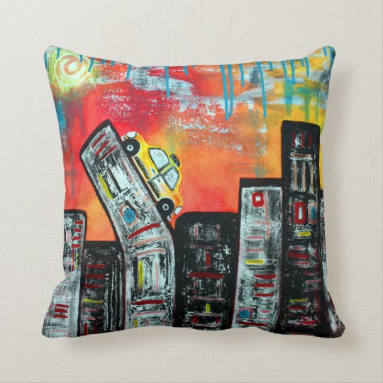 Taxi Cab City Art Throw Pillow