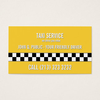 Taxi Cab Driver Black and White Pattern Business Card