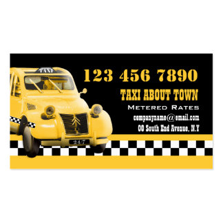 Taxi cab funny vintage yellow black Double-Sided standard business cards (Pack of 100)
