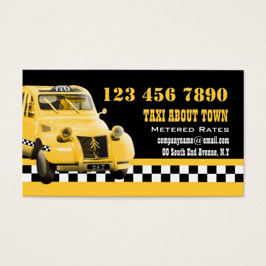 Taxi cab funny vintage yellow black business card
