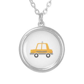 Taxi Cab Round Pendant Necklace