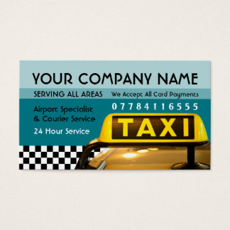 Taxi Cab Sign With Airport And Station Price Lists Business Card