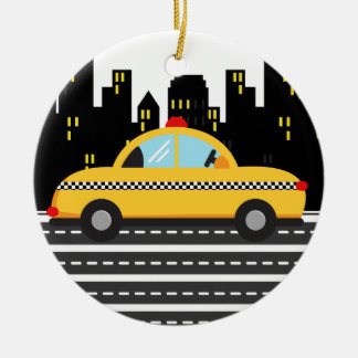 TAXI Cab - SRF Double-Sided Ceramic Round Christmas Ornament