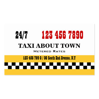 Taxi cab yellow red black business card