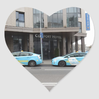 Taxi Cabs in Vilnius Lithuania Heart Sticker