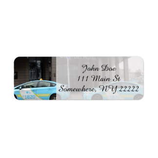 Taxi Cabs in Vilnius Lithuania Label
