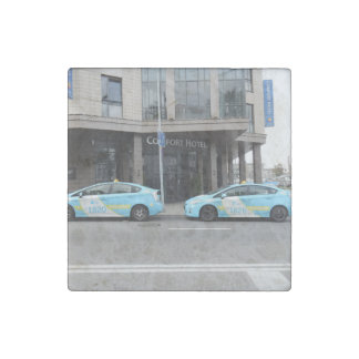 Taxi Cabs in Vilnius Lithuania Stone Magnet