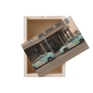 Taxi Cabs in Vilnius Lithuania Wooden Keepsake Box
