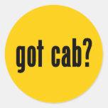 ¿taxi conseguido? etiqueta redonda