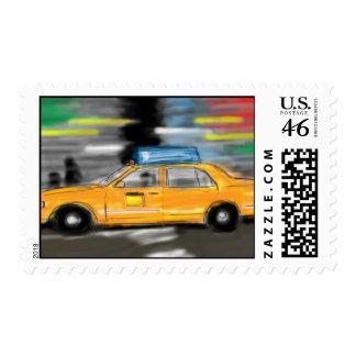 Taxi de NYC en franqueo del movimiento