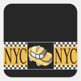 Taxi de NYC Calcomania Cuadrada Personalizada