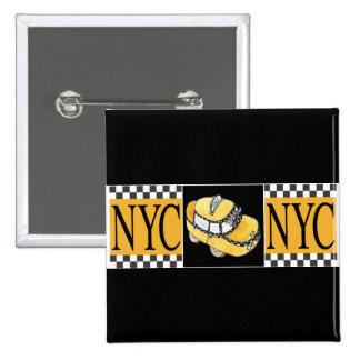 Taxi de NYC Pin Cuadrado