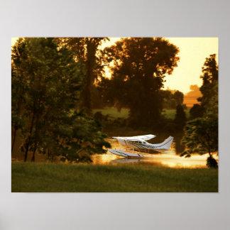 Taxi del agua de 206 puestas del sol póster