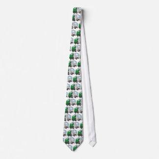 taxi del blanco del verde del camión de basura 3d corbatas