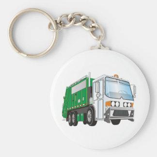 taxi del blanco del verde del camión de basura 3d llavero redondo tipo pin