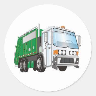 taxi del blanco del verde del camión de basura 3d pegatina redonda