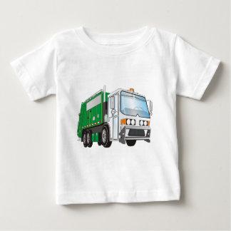 taxi del blanco del verde del camión de basura 3d playera de bebé