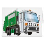 taxi del blanco del verde del camión de basura 3d tarjeton