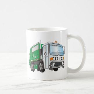 taxi del blanco del verde del camión de basura 3d taza de café