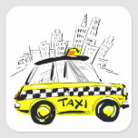 taxi del newyork pegatina cuadrada
