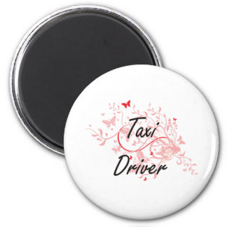 Taxi Driver Artistic Job Design with Butterflies 2 Inch Round Magnet