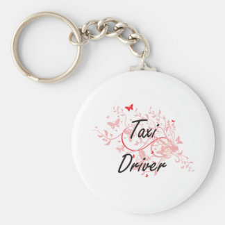 Taxi Driver Artistic Job Design with Butterflies Keychain