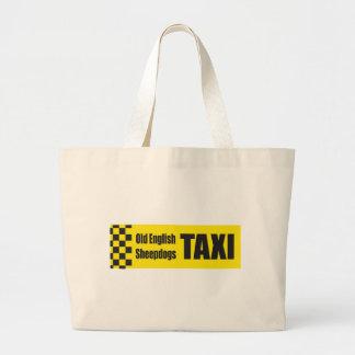 Taxi English Sheepdog Tote Bags