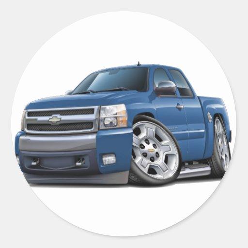 Taxi extendido del granito azul de Chevy Silverado Etiquetas Redondas