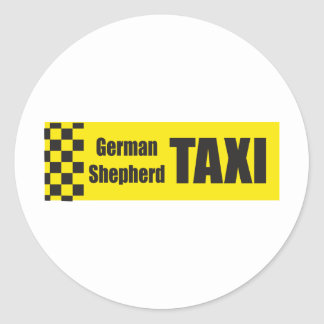 Taxi German Shepard Round Stickers