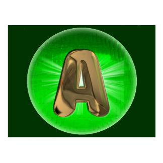 TAXI  Gold Monogram A Green light Post Card