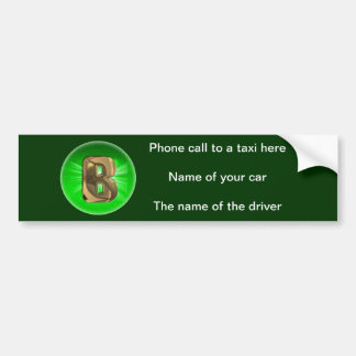 TAXI Gold Monogram B Green light Bumper Sticker
