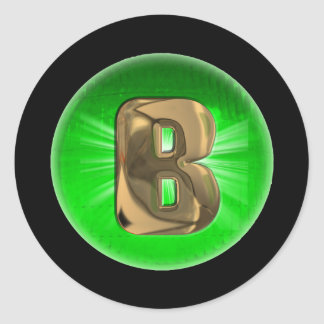 TAXI Gold Monogram B Green light Classic Round Sticker