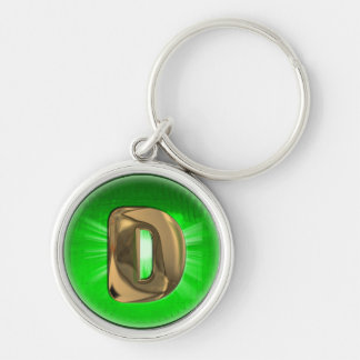 TAXI Gold Monogram D Green light Keychain