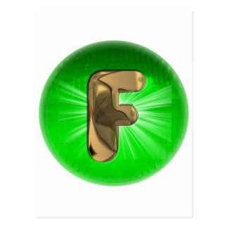 TAXI Gold Monogram F Green light Post Card