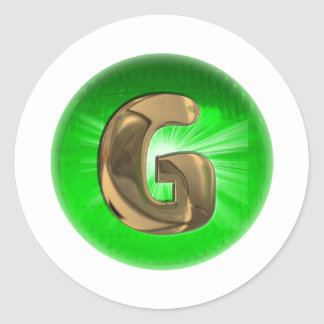 TAXI Gold Monogram G Green light Classic Round Sticker