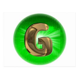 TAXI Gold Monogram G Green light Post Card