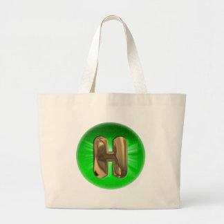 TAXI Gold Monogram H Green light Large Tote Bag